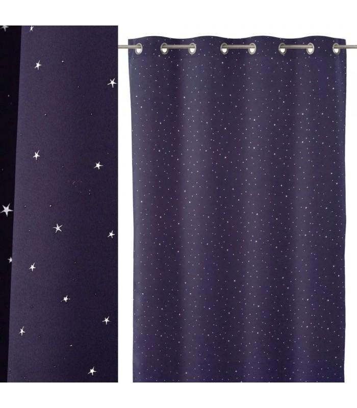 rideau occultant a oeillets bleu nuit