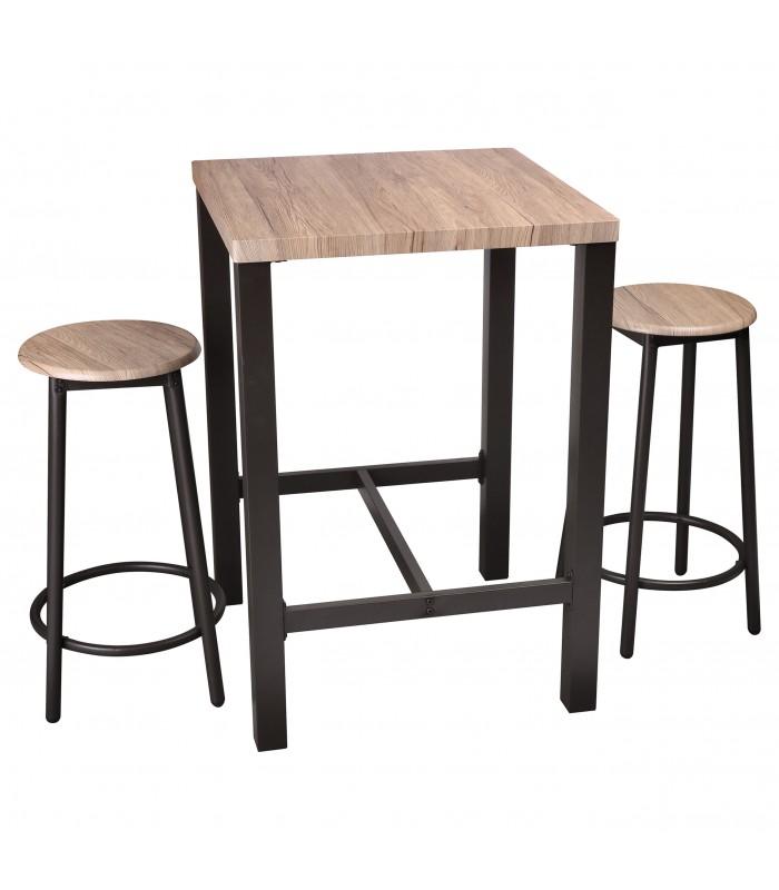 table de bar carree 2 tabourets de bar en bois et metal noir
