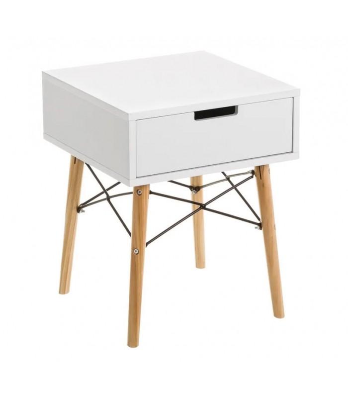 table de chevet design en bois blanc