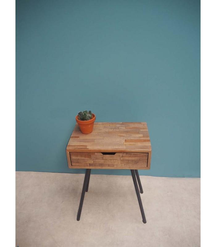 table de chevet bois et metal noir 1