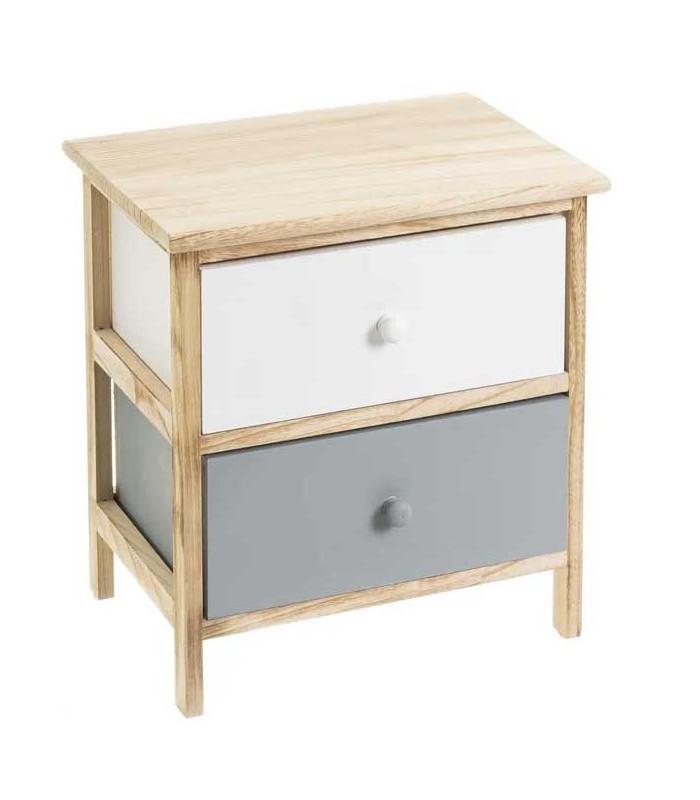 table de chevet 2 tiroirs blanc et gris