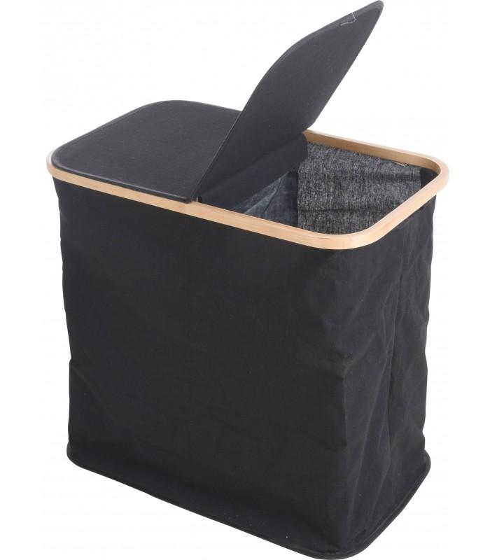 Panier A Linge Double Compartiment Tissu Noir Et Bambou