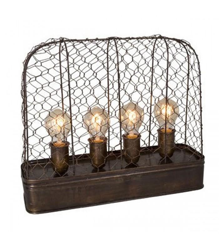Lampe Poser Style Industriel Mtal Grillag 4 Ampoules
