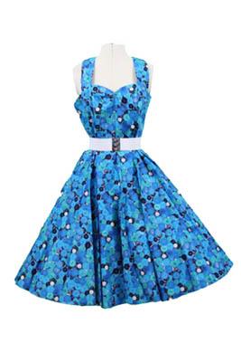 Blue Button print Halter Neck Dress