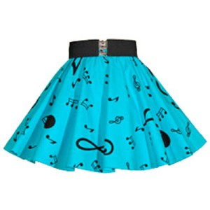 "Sale -17 "" Blue / Black Music Notes Circle Skirt (XSmall)"