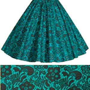 Sale 13″ Jade / Black Lace Circle Skirt (XXSmall)
