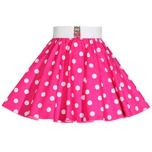Childs Cerise Pink/ White PD Circle Skirt