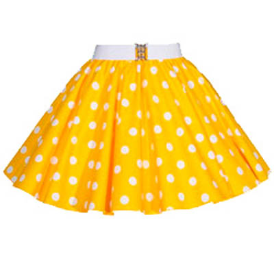 Childs Yellow / White PD Circle Skirt