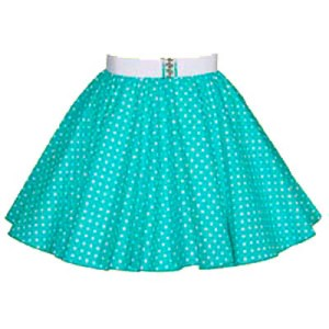Childs Turq Green / Wht 7mm PD Circle Skirt