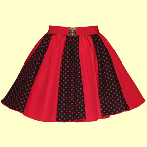 Black / Red 7mm PD & Plain Red Panel Skirt