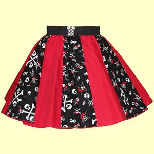 Skull /Crossbones & Plain Red Panel Skirt