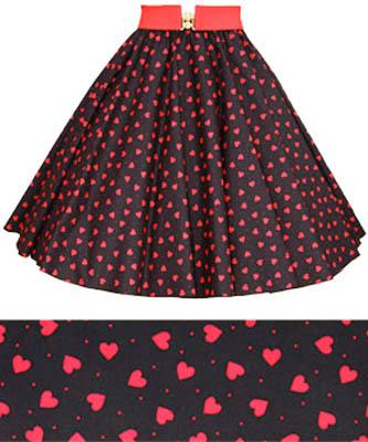 Black / Red Hearts Print Circle Skirt
