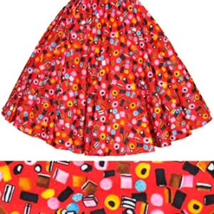 Red / Liquorice Allsorts Print Circle Skirt