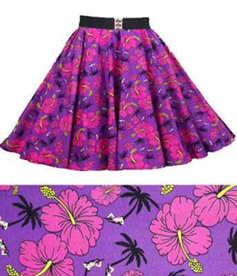 Purple /Tropical Print  Circle Skirt