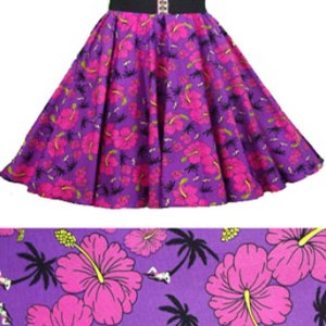 "Sale – 16 ""Purple Tropical Print  Circle Skirt (XS) Free nchief"