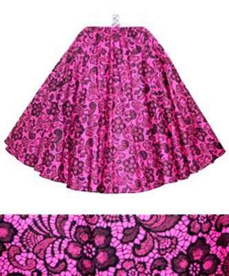 Cerise / Black Lace Print  Circle Skirt