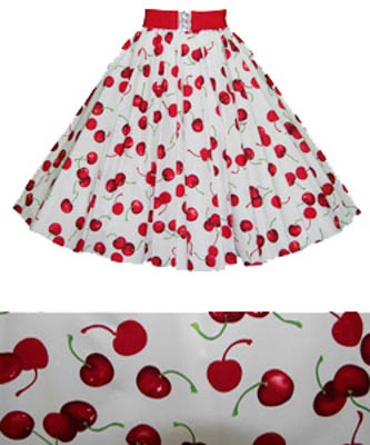 White/ Red Cherries Print  Circle Skirt