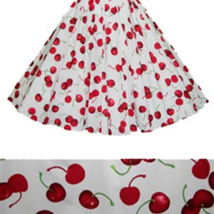 White/ Red Cherries Print  Circle Skirt