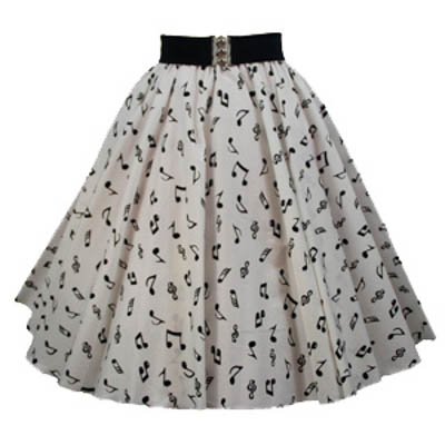 White / Small Blk Music Notes Print Circle Skirt