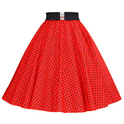 Red / Black 7mm Polkadot Circle Skirt
