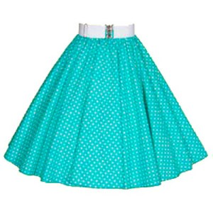 Sale -25″ (Small)Turq / White PD Circle Skirt