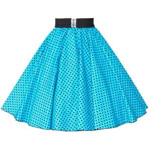 Turq Blue / Black 7mm Polkadot Circle Skirt