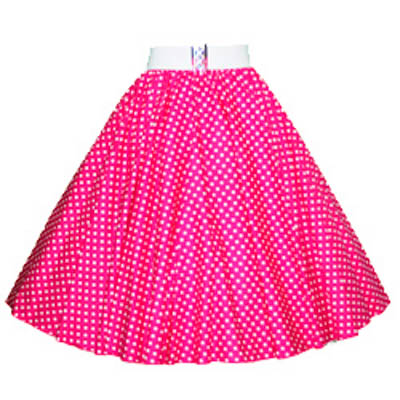 Cerise Pink / White 7mm Polkadot Circle Skirt