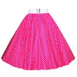 Cerise Pink / White 7mm Polkadot Circle Skirt