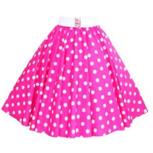 Cerise Pink / White Polkadot Circle Skirt
