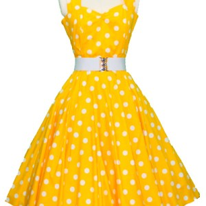 Yellow / White Polkadot Halter Neck Dress
