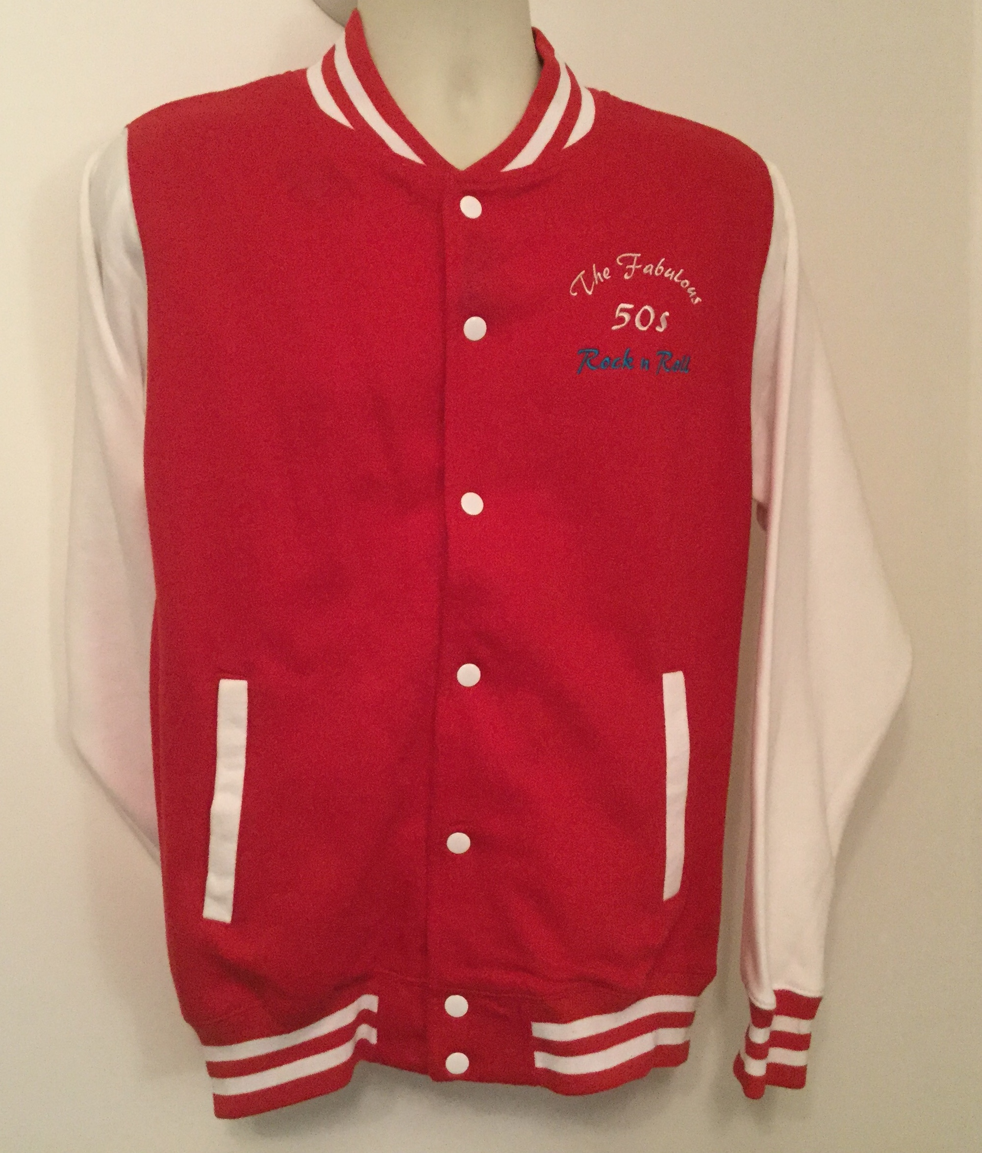 Sale-Unisex Varsity Jkt  Red/ White (Med)