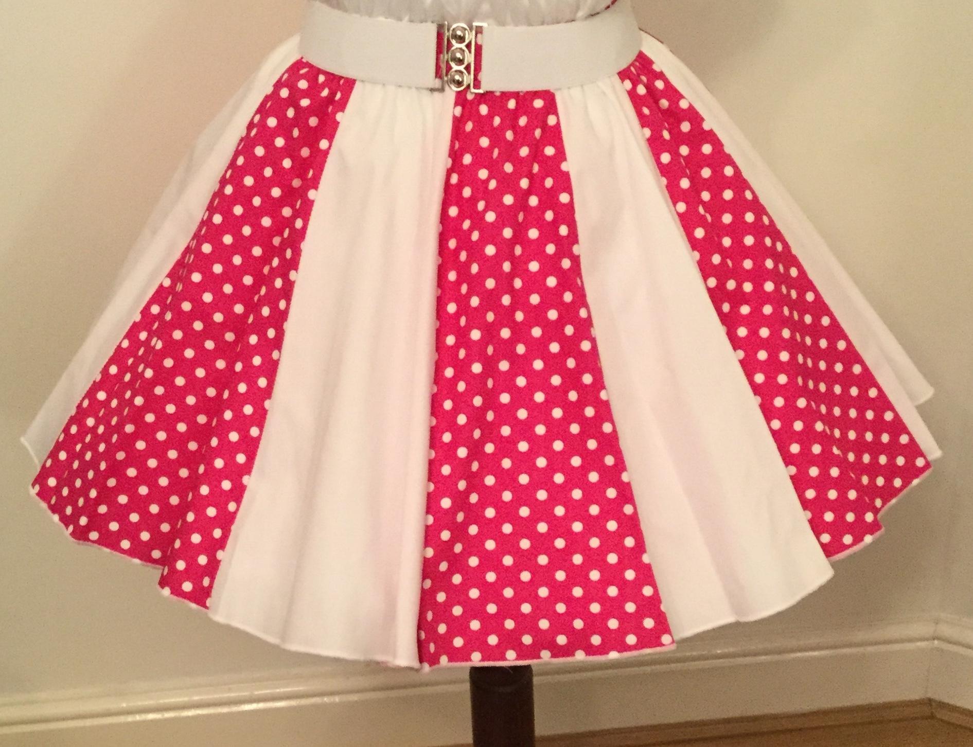Ceri Pnk / Wht 7mm PD & Plain Wht Panel Skirt