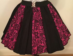 Cerise  Pink Lace & Plain Black Panel Skirt