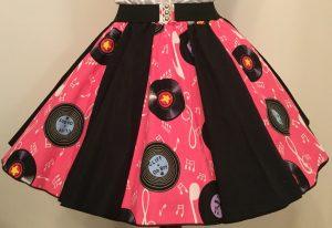 Pink Records & Plain Black Panel Skirt
