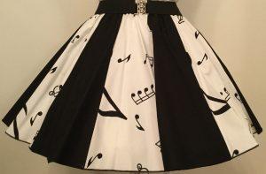 White Music Notes & Plain Black Panel Skirt