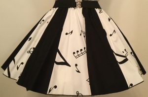 White Music Notes & Plain Black Panel Skirt