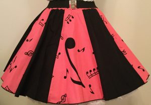 Pink Music Notes & Plain Black Panel Skirt
