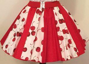 White Cherries & Plain Red Panel Skirt