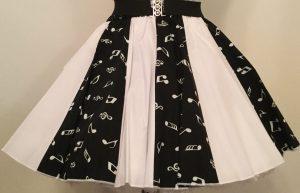 Blk Small Music Notes & Plain Wht Panel Skirt