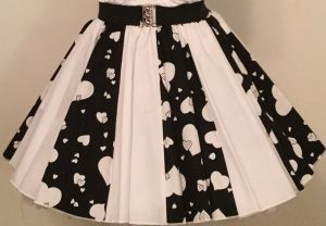 Black Random Hearts & Plain White Panel Skirt