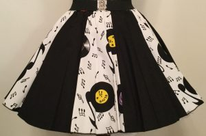 White Records & Plain Black Panel Skirt