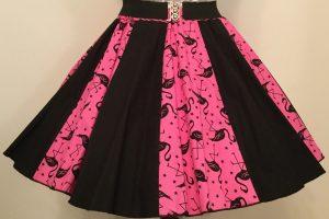 Pink Flamingos & Plain Black Panel Skirt