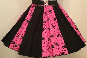 Pink Flamingos & Plain Black Panel Skirt