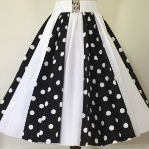 Black with white PD / Plain White Panel Skirt