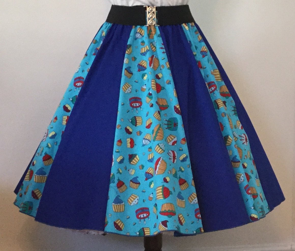 Blue Cupcakes / Plain Blue  Panel Skirt
