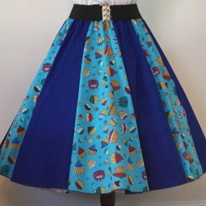 Blue Cupcakes / Plain Blue  Panel Skirt