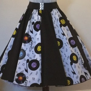 White Records / Plain Black  Panel Skirt