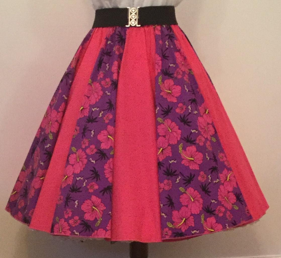 Purple Tropical / Plain Cerise Pink  Panel Skirt