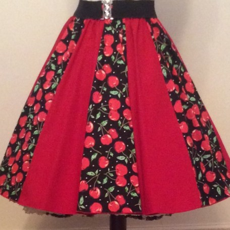 Black cherries and plain red Panel Skirt