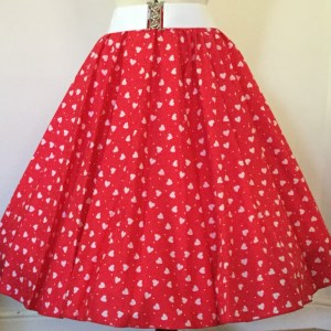 Red with White Hearts patterned skirt